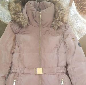 Michael Kors Hood Fur-Trim Quilted Coat